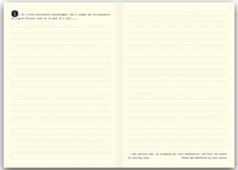 Interior of WRITINGS has the beginning and the ending of classic literature per spread for inspiration.
