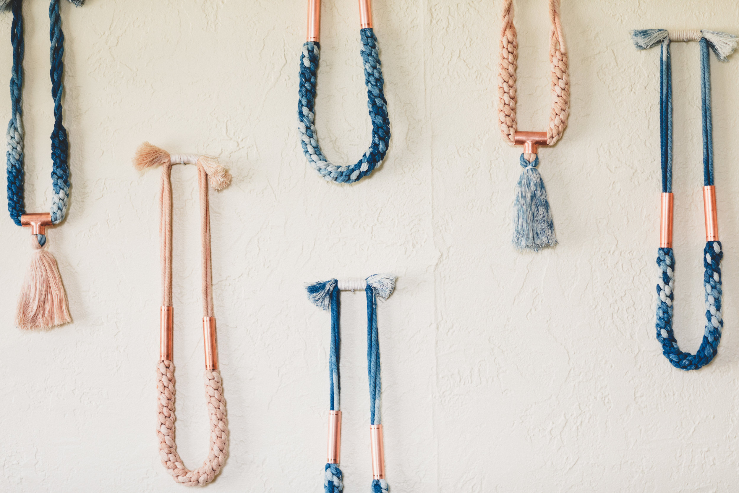 Cotton + Copper Collection - Naturally dyed organic cotton jewelry accented in hand cut copper.