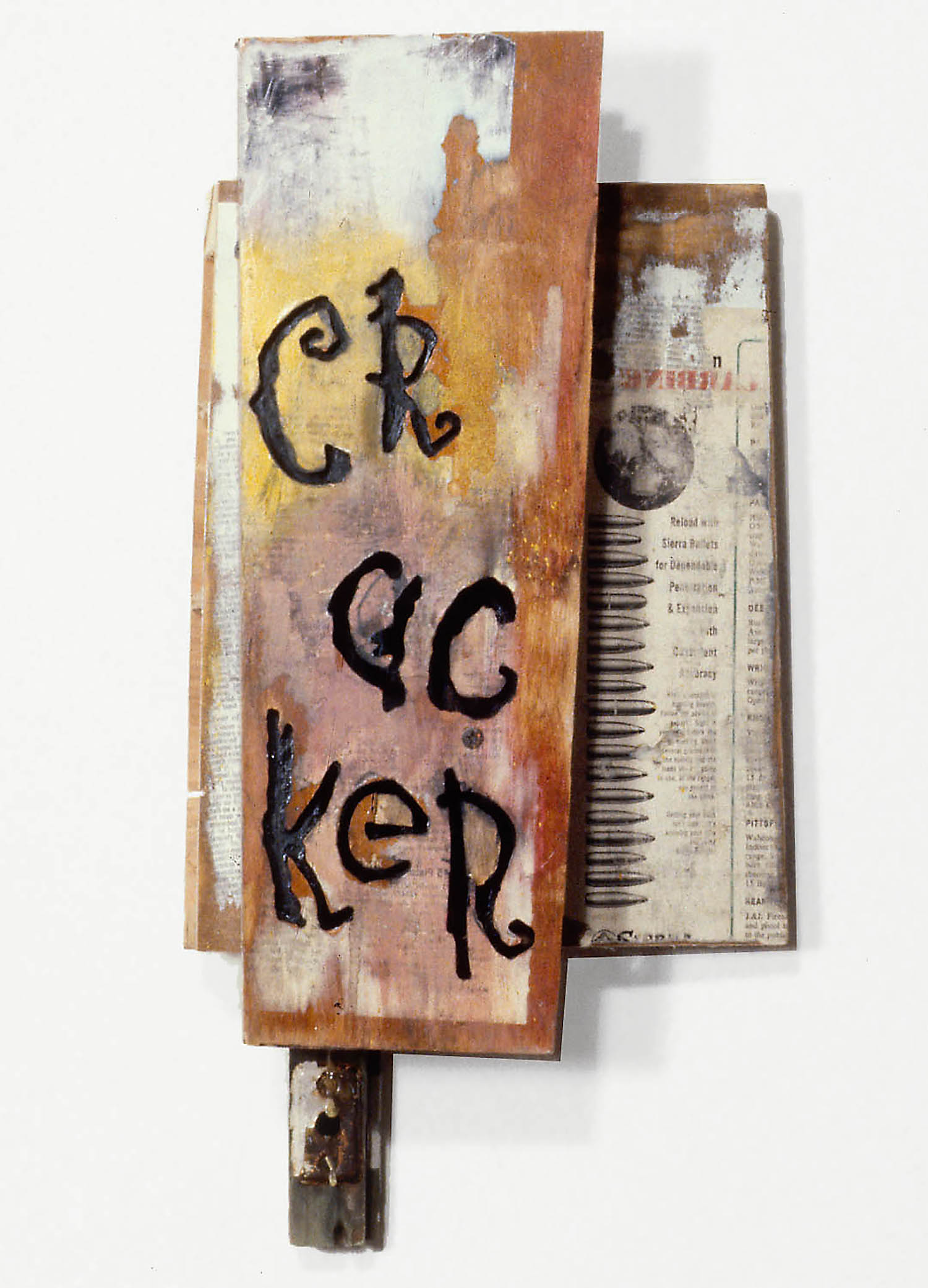 "Randall Garrett, ""Cracker"" (1992), collage and spray enamel on wood, Collection of the artist"