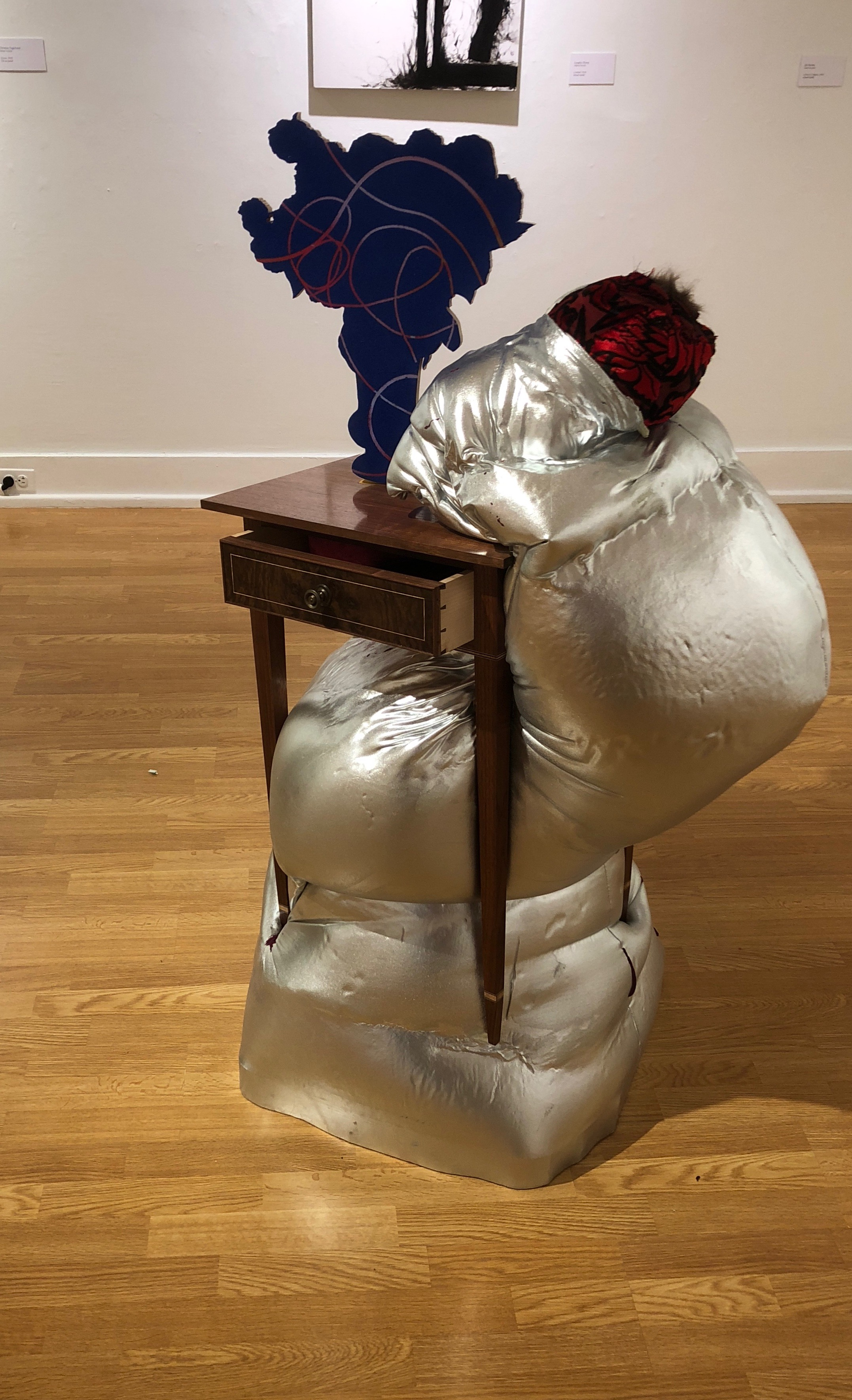 "Jim Burton, ""LaTour in Virginia,"" Hand built federal period table, flocking, fabric, Marine Foam, books, 2018"