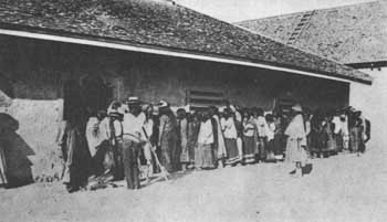 Distribution of rations about 1892 at San Carlos Agency, Ariz.