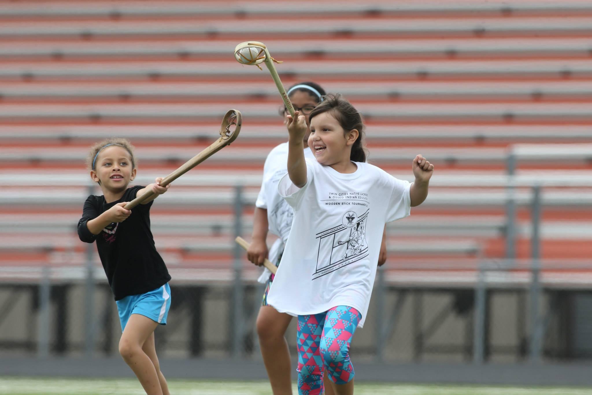 Twin Cities Native Lacrosse girls team members Stella Hunter and Riley Taylor. Photo: David Joles.