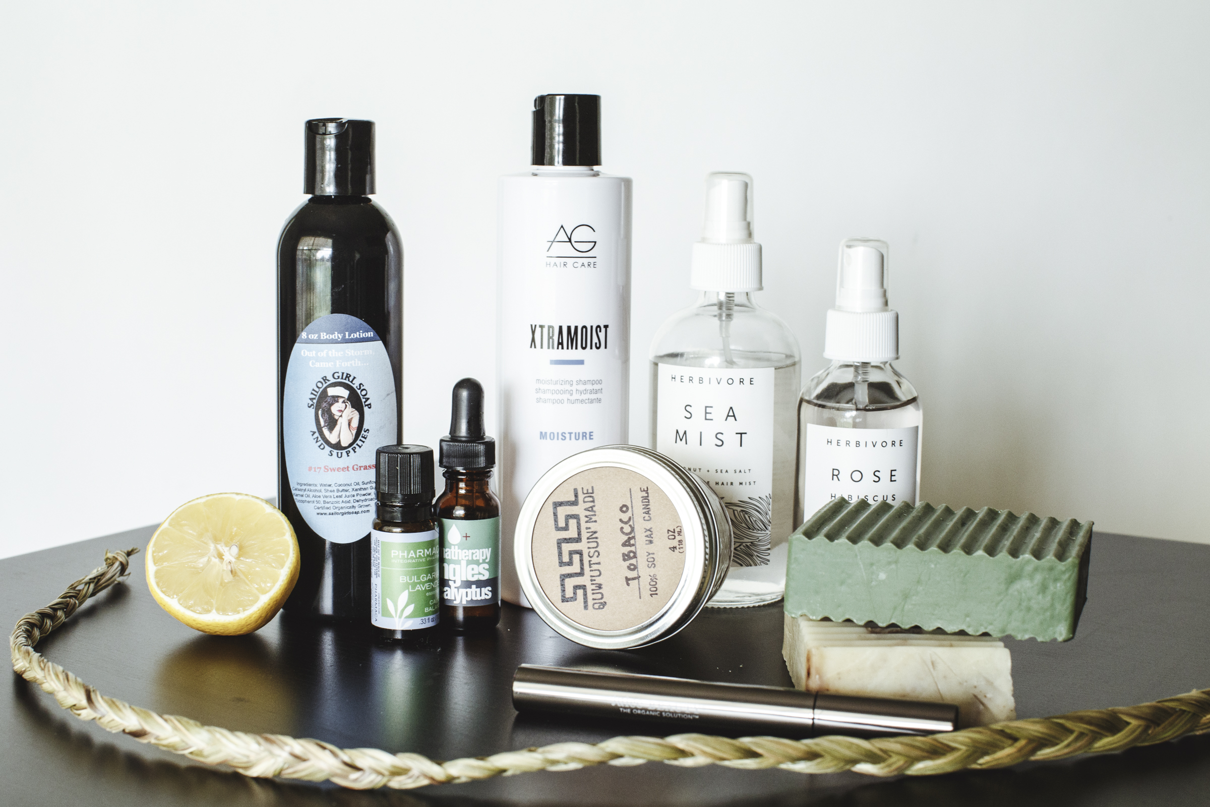 """Some of my favorite all-natural or mostly-natural beauty products including two Native-owned lines: """"Sailor Girl Soap and Supplies"""" and """"Quw'utsun Made."""" Photo by  Thosh Collins."""