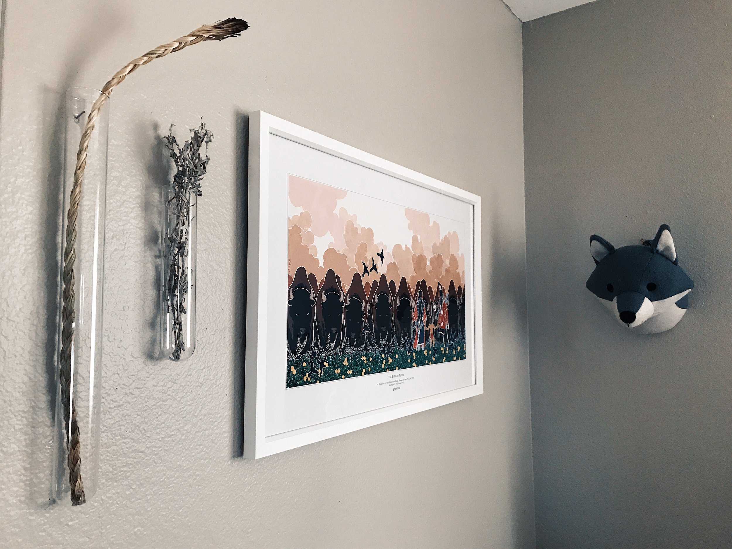 Medicines, an art print, and a cute little wolf to surround her corner.