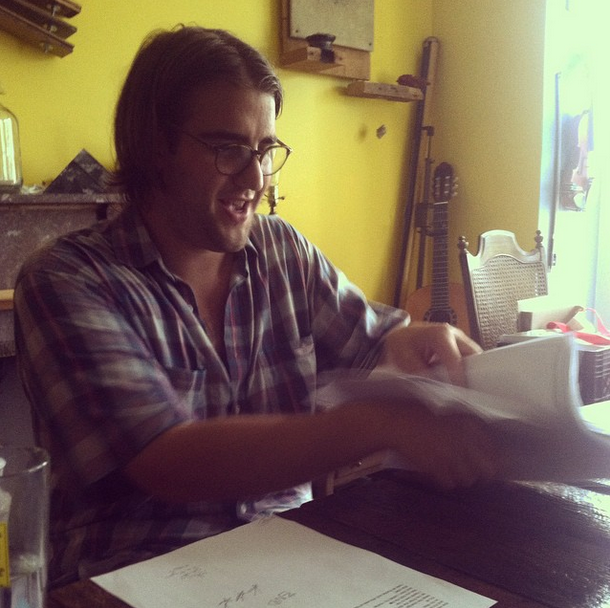Jim Franks at The Perch (looking over the final draft of his chapbook 'And all my dreams came true...')