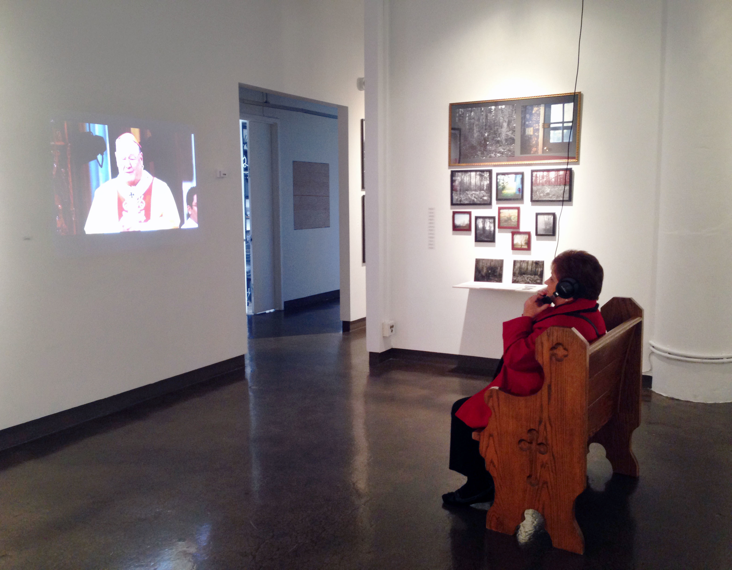 "Title: Popcorn In The Pews  Date: 2015  Media: single video projection, color, sound, wooden church pew  Time: 6 minutes   AS SEEN AT ""MENTORS"" SVA CHELSEA GALLERY, NYC"