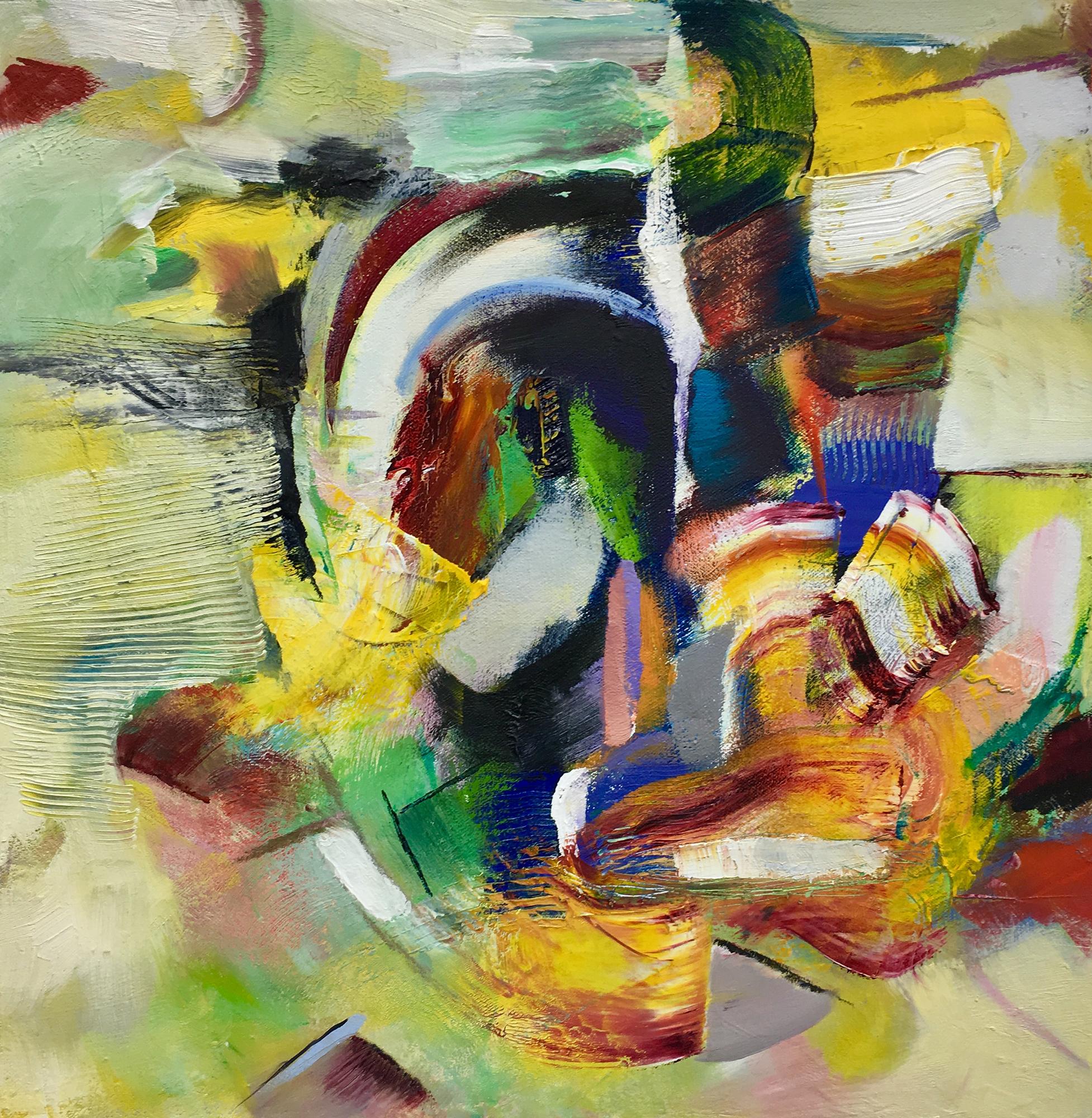 """Hegira  Oil on canvas on wood 16"""" x 16"""""""