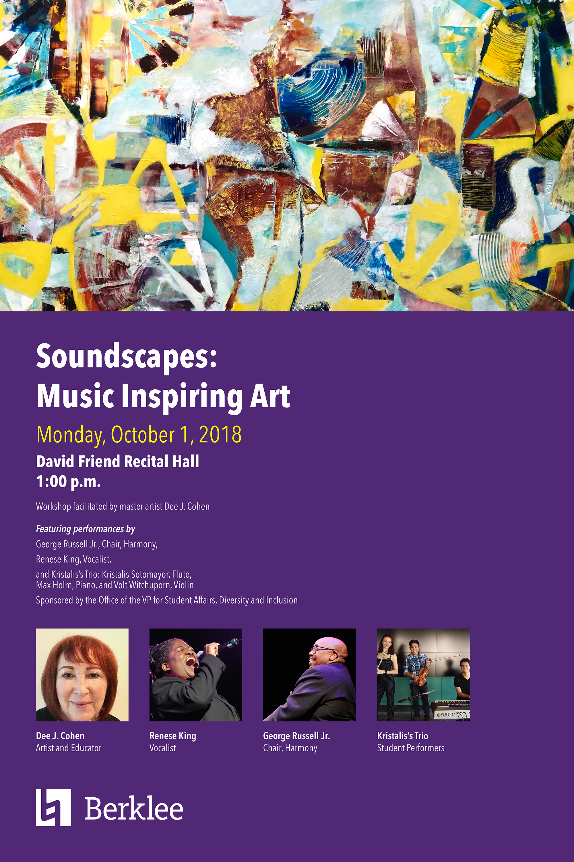 Soundscapes: Music Inspiring Art event hosted by Dee J. Cohen, Artist and Educator, at Berklee College of Music in Boston, MA.