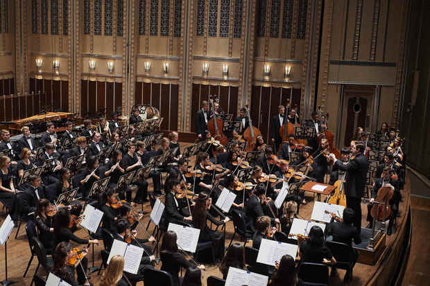 Music Director Brett Mitchell leads the Cleveland Orchestra Youth Orchestra in performance at Severance Hall on Friday, Nov. 18. (Photo by Roger Mastroianni)