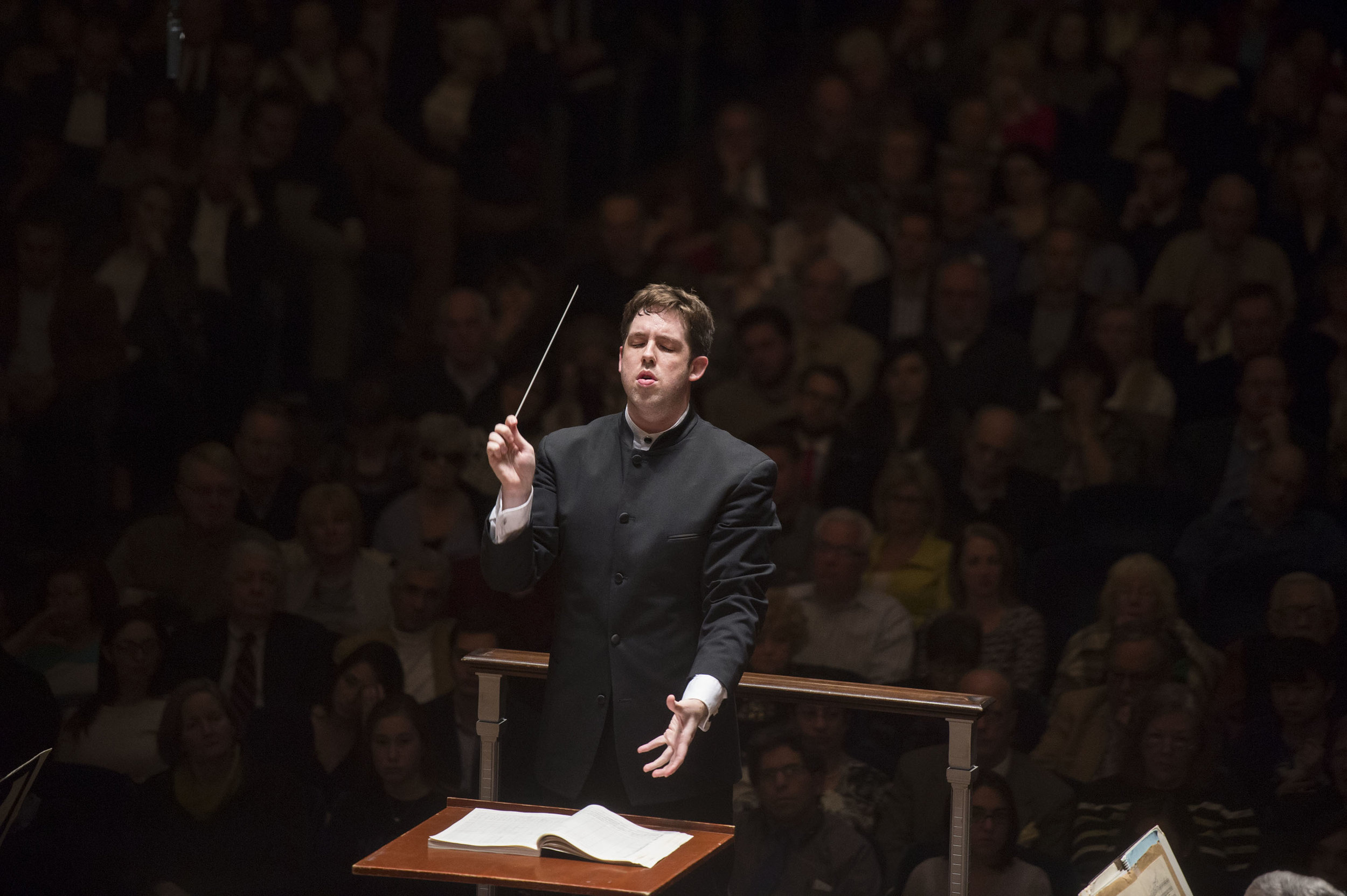 """Associate conductor Brett Mitchell is about to conclude his tenure with the Cleveland Orchestra with a live performance with film of Bernstein's """"West Side Story,"""" a project he describes as """"tailor-made for my relationship with the Cleveland Orchestra."""" (Photo by Roger Mastroianni)"""