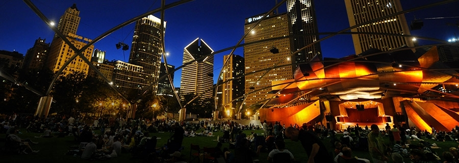 Brett Mitchell led the Grant Park Orchestra on Wednesday, July 19 at the Pritzker Pavilion in downtown Chicago.