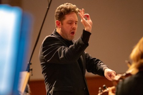 Brett Mitchell leads the River Oaks Chamber Orchestra in Houston at St. John the Divine on Saturday, February 23.