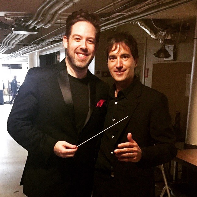 Brett Mitchell and composer Mason Bates backstage at Boettcher Concert Hall after Mitchell's inaugural subscription performances as Music Director of the Colorado Symphony.