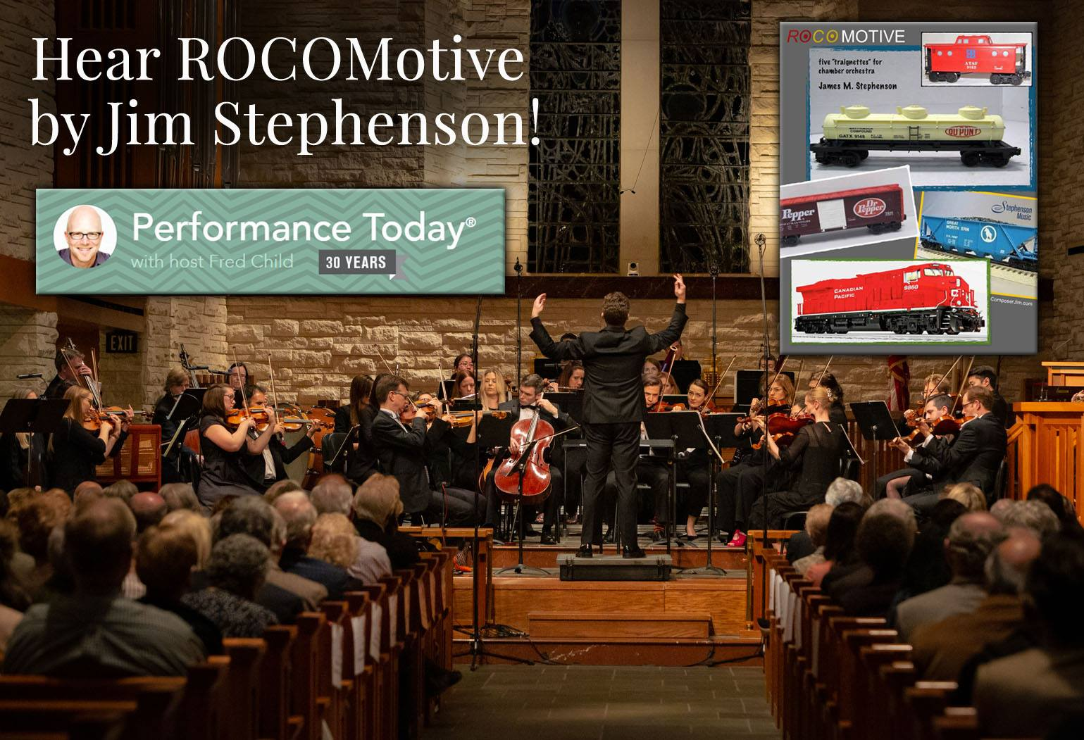 Brett Mitchell leads the River Oaks Chamber Orchestra (Houston) in the world premiere of Jim Stephenson's  ROCOmotive .
