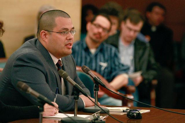 "Prof. Lopez in Minnesota in 2013, testifying against Minnesota's gay ""marriage bill."