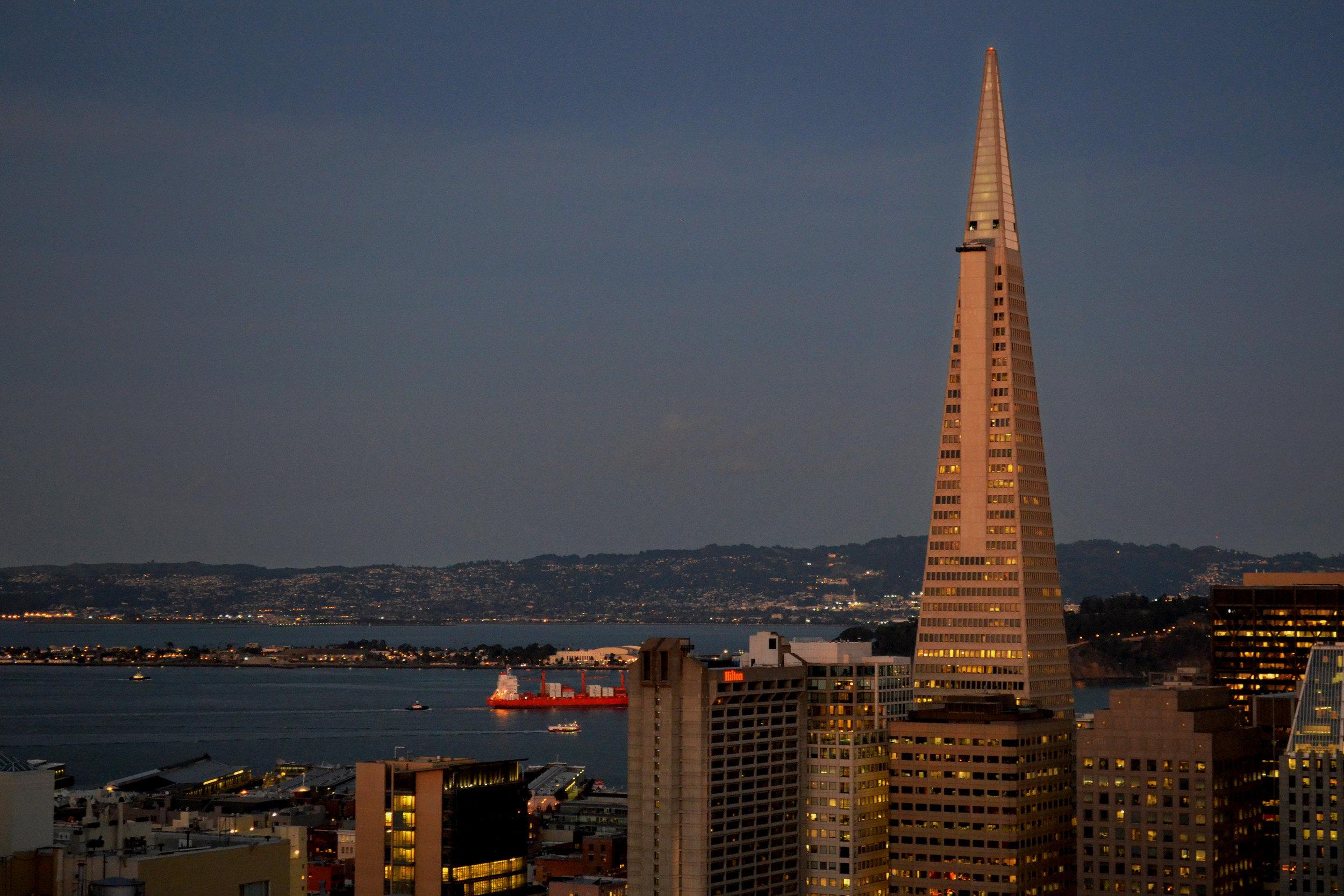 Night falls on the San Francisco Bay