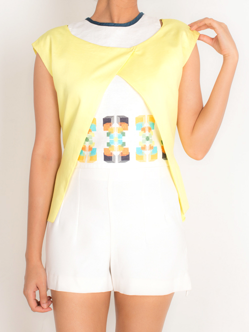 SHRUG   This shrug comes in a fun lemon yellow and is made from 100% Cotton Twill, lined with Cotton Silk fabric. It has a front closure and can be styled in different ways; the crop top would be a perfect piece to pair it with.  Code : 0016FOT