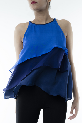 BLUE LAYERED TOP   This top is perfect for a night out, made from silk chiffon it flows beautifully and the palette transforms from light to dark blue. Made from 100% silk, dry clean only.  Code : 0032LTB