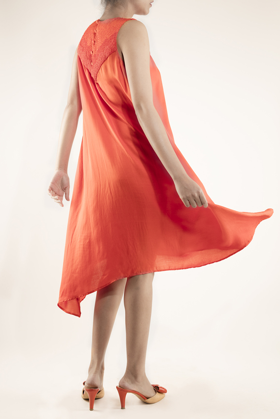 0038DP-Orange-Dress-Back