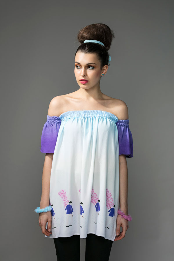 OFF SHOULDER TUNIC   Off shoulder, but on trend! This tunic has soft elastic at the top, which makes sure not to restrict any movement. With flared sleeves and a loose free flowing body, this piece is made from soft modal in our 'Cotton Candy Man' print. Hand wash in cool water.   Size :  S, M, L, XL, C  Code :  0065OST