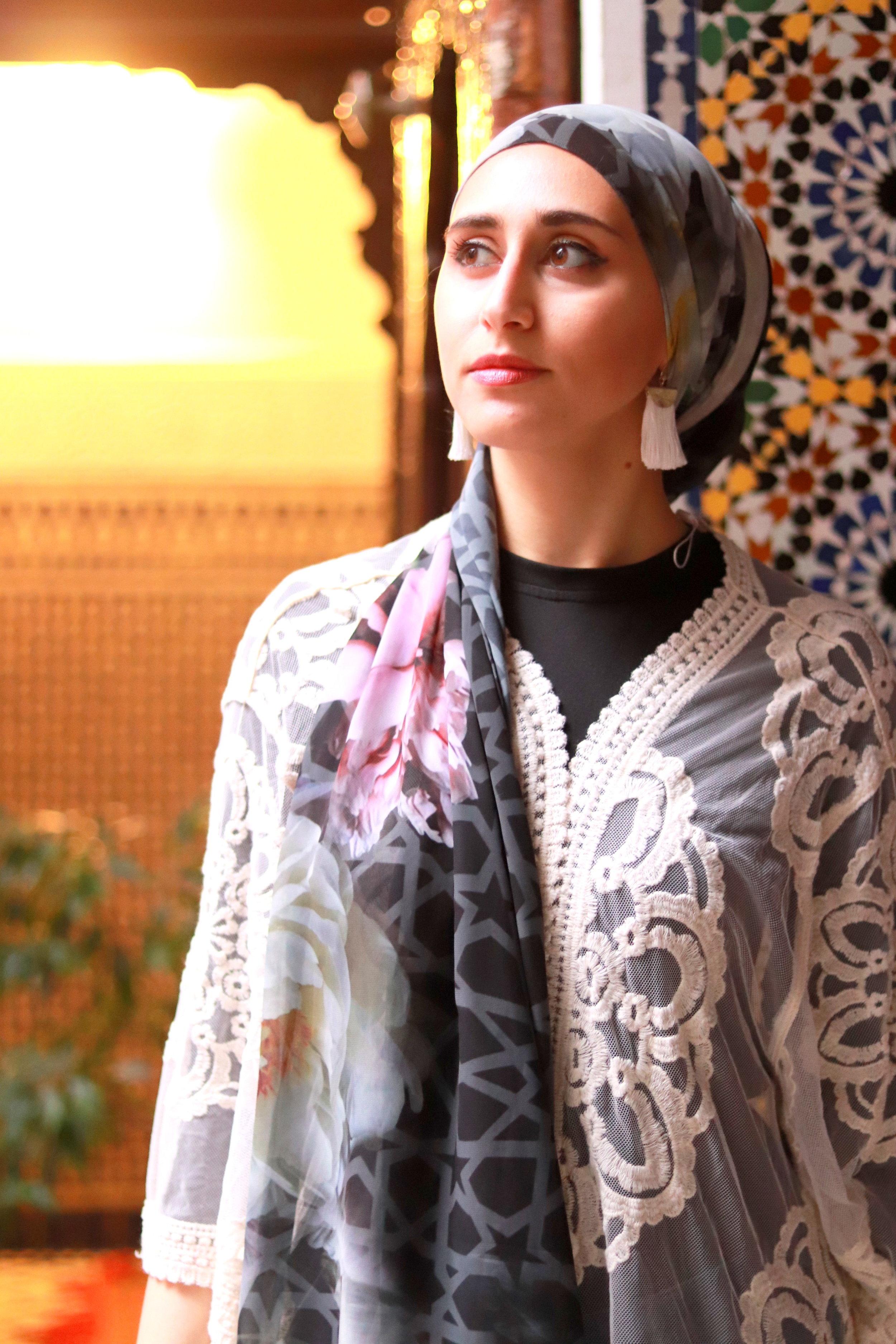 fez-morocco what to wear in morocco , morocco outfits karama by hoda arabesque scarf, moroccan scarf, arabesque lifestyle, boho chic boho outfit, geometric scarf mosaic scarf moroccan decor morocco decor nyc arabesque tiles
