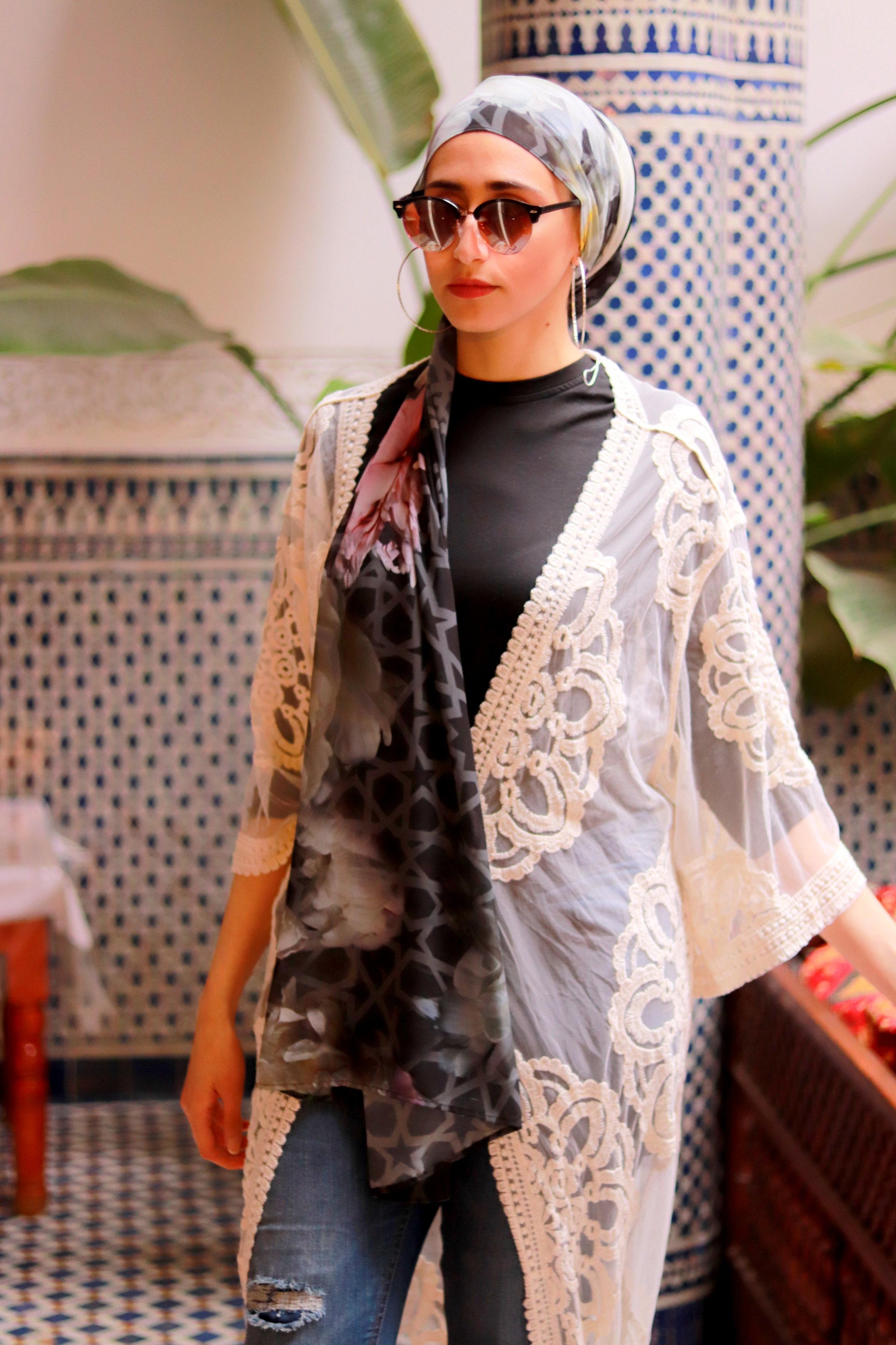 fez-morocco what to wear in morocco , morocco outfits karama by hoda arabesque scarf, moroccan scarf, arabesque lifestyle, boho chic boho outfit, geometric scarf mosaic scarf moroccan decor morocco decor nyc arabesque tile
