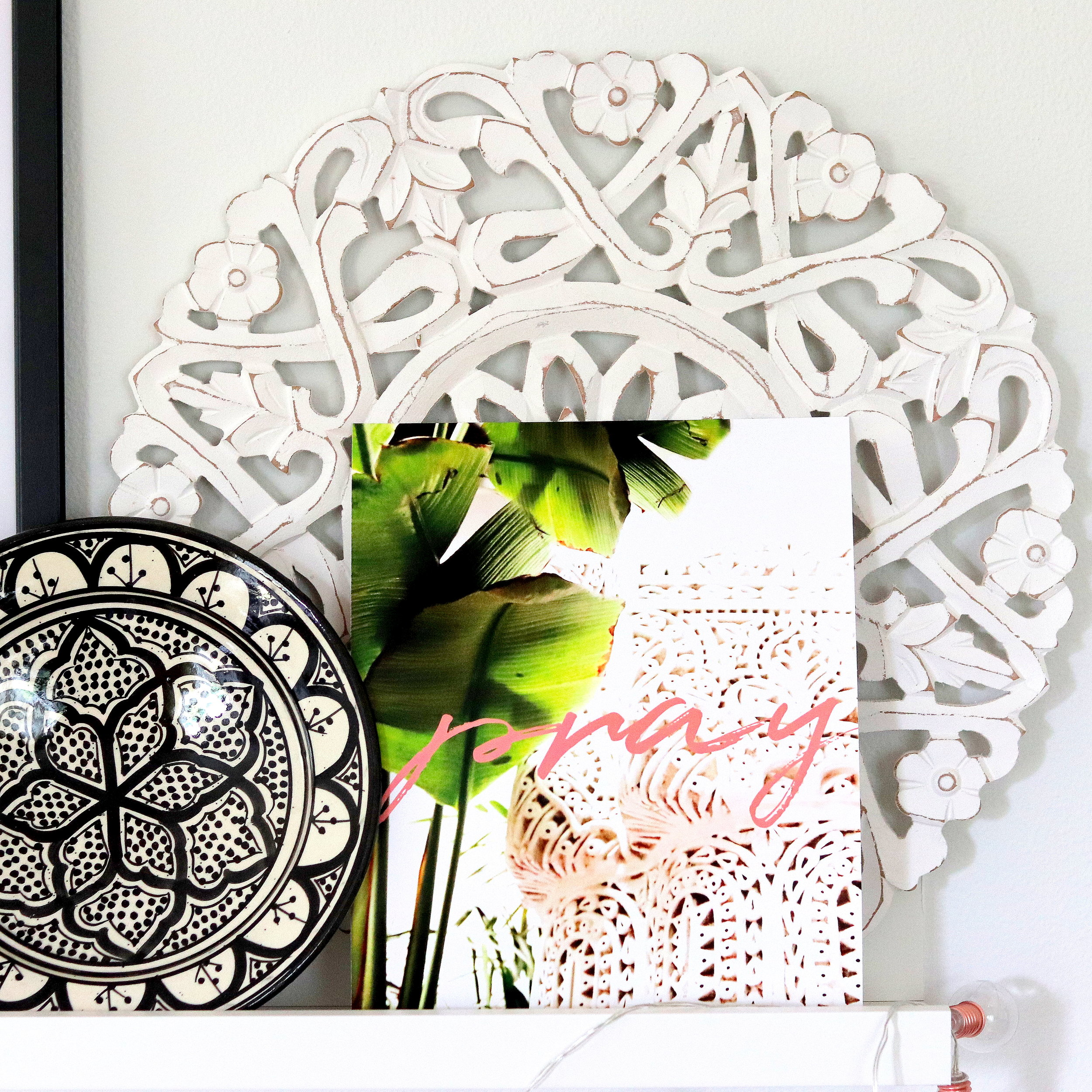 Moroccan Print Design Modern Arabesque Home Decor Pray Artwork Print