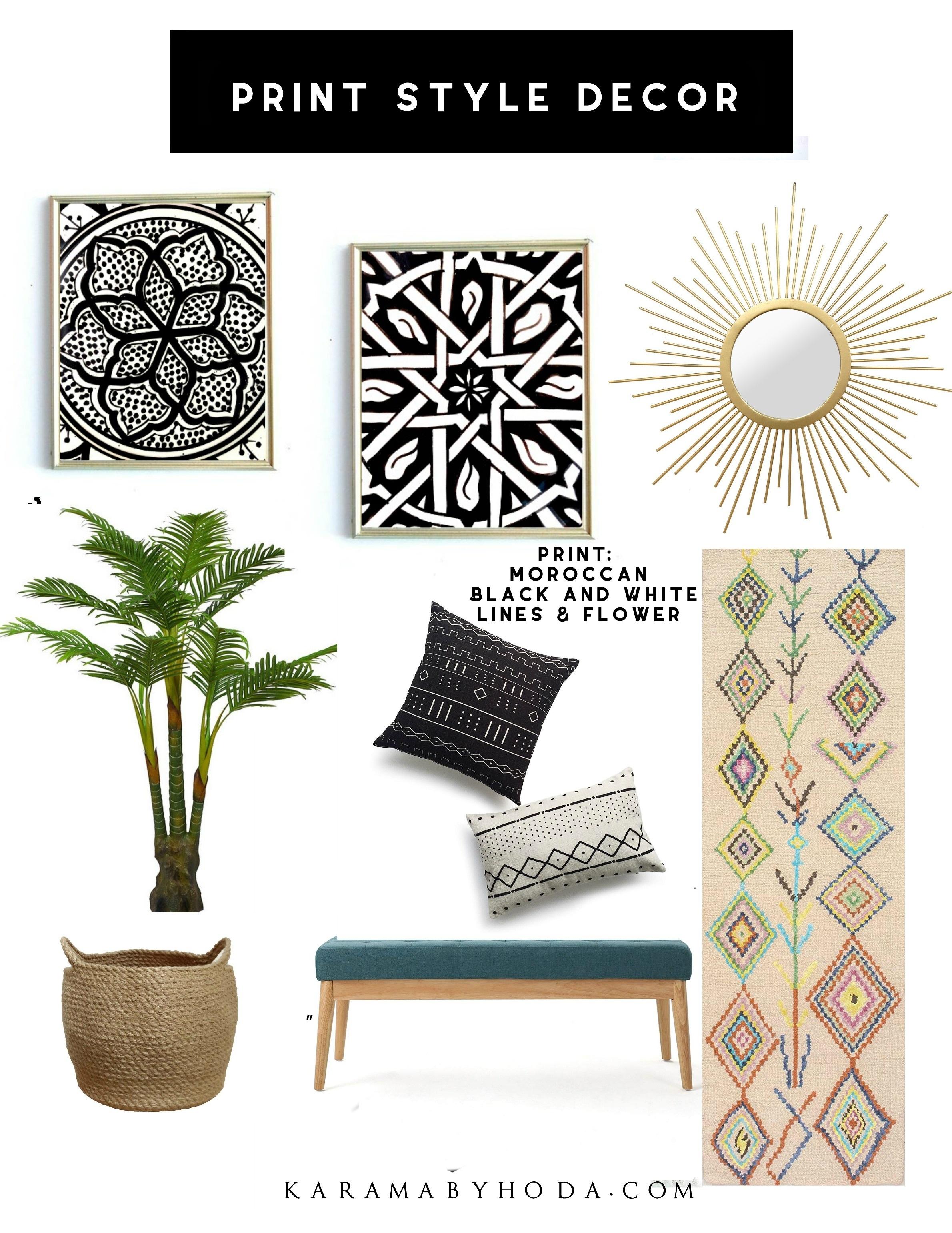 Moroccan Decor Black and White- Print Style Decor- Karama by Hoda.jpg