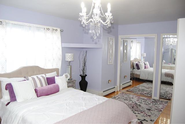 Purple Rain ☔️ : Client wanted to transform her mother's purple room into something more modern. We decided to change the paint color to a more mature purple color. And keep her dark purples for the accessories. : Design tip: Go for muted tones when doing an adult's room.