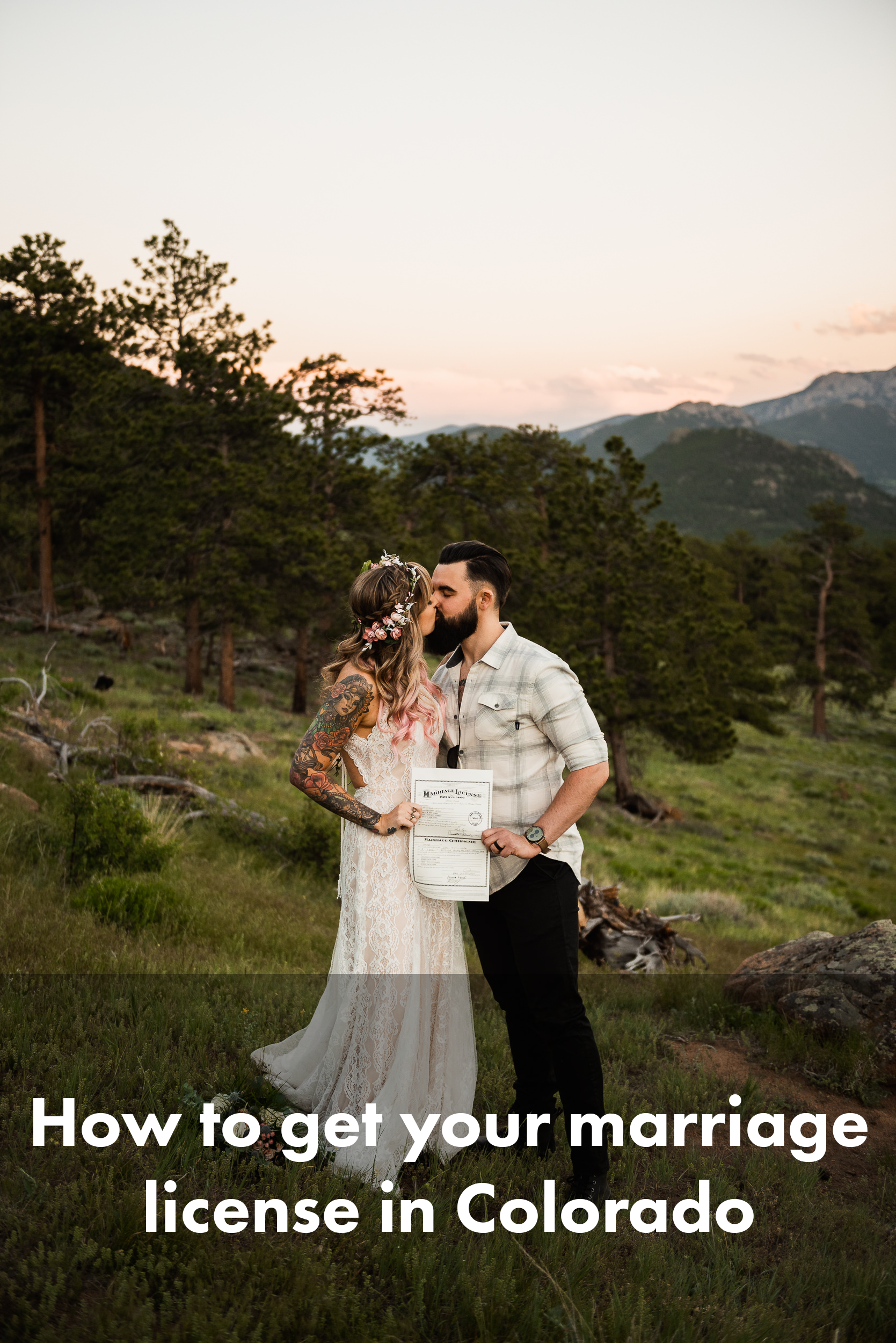 This is a picture of a couple kissing, holding their marriage license in front of them. The bride on left is wearing a sleeveless dress, showing off her arm tattoos. The broom on the right has a beard and is wearing a buttoned shirt and a watch, jeans, and boots. They're standing in a grassy field, with trees and mountain peaks behind them at sunset.