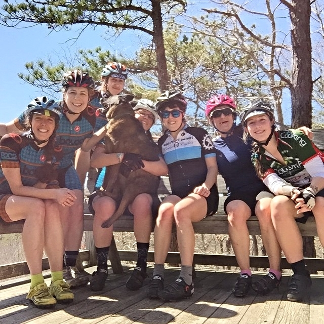 Three hours of pure wonderfulness on Cape Codled by Lauren and high-efficiency doggy, Finch. There were log hops and wheelies and an occasional endo.