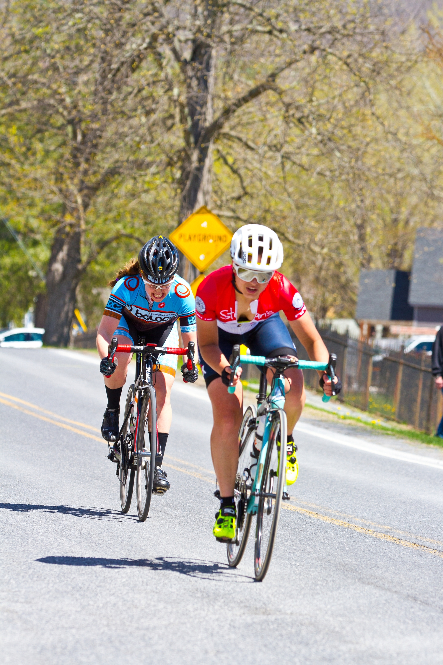Hannah and Oksana Miller of Stan's NoTubes p/b Velo Cycling Classic battling it out in the final meters of the race