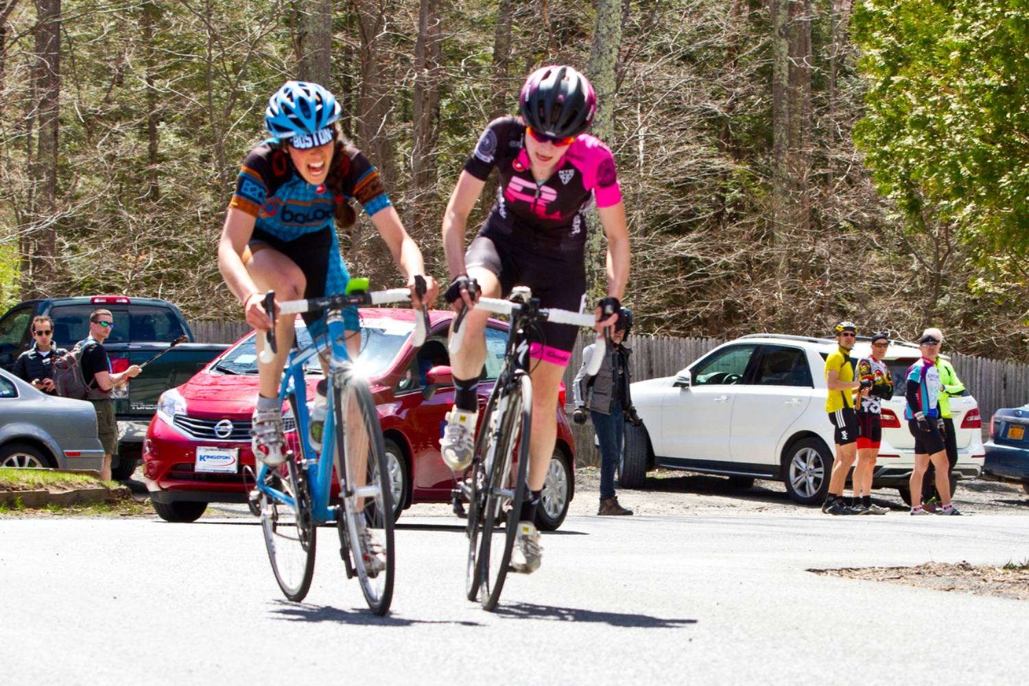 Julie doesn't let up as she takes 3rd in the QOM over the top of the main climboverLucie Vagnerova of the CRCA Rockstar team