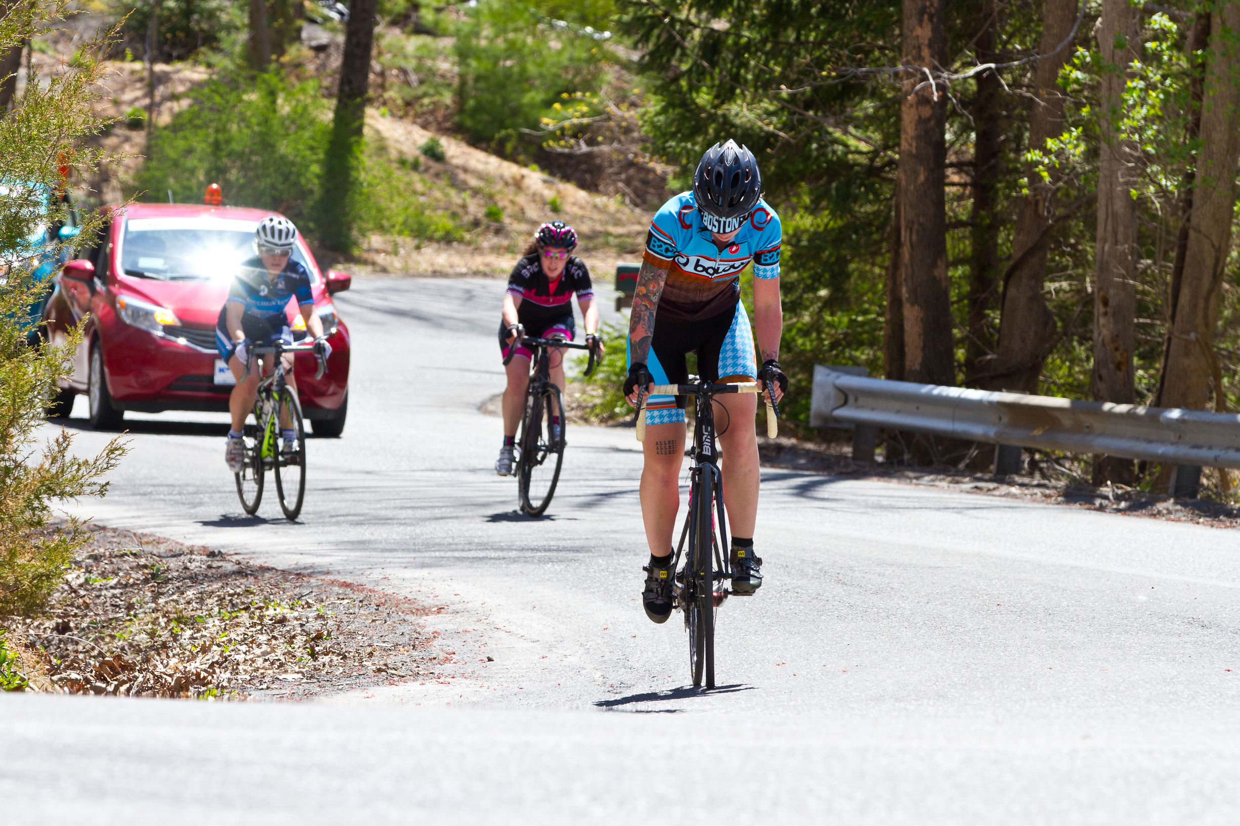 Alex turning the pedals over on the main climb, going on to best her previous year's time on the same course by nearly 15 minutes
