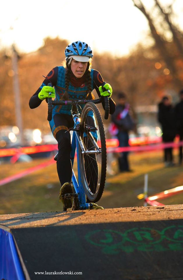 Wright, shown riding to a second place finish behind Mo Bruno Roy at theIce Weasels race in Cumberland, RI,hada breakout season in 2014 with four wins and a dozen other top-ten finishes  Photo Credit: Laura Kozlowski