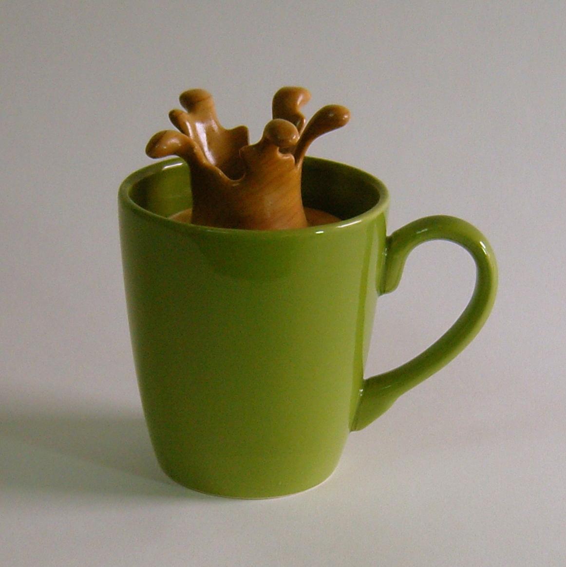 """Splash Series #14  5.5""""W x 3.75""""D x 5.5""""H  Maple, Walnut, Ceramic Cup.  SOLD"""