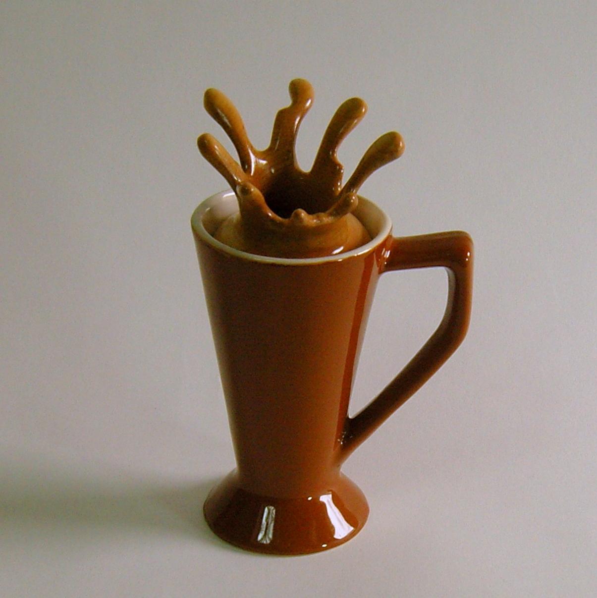 """Splash Series #15  4.5""""W x 3.5""""D x 7""""H  Maple, Walnut, Ceramic Cup.   S OLD"""