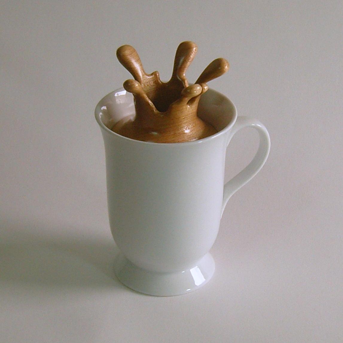 """Splash Series #17  4.5""""W x 3.5""""D x 6.25""""H  Maple, Walnut, Ceramic Cup.  SOLD."""