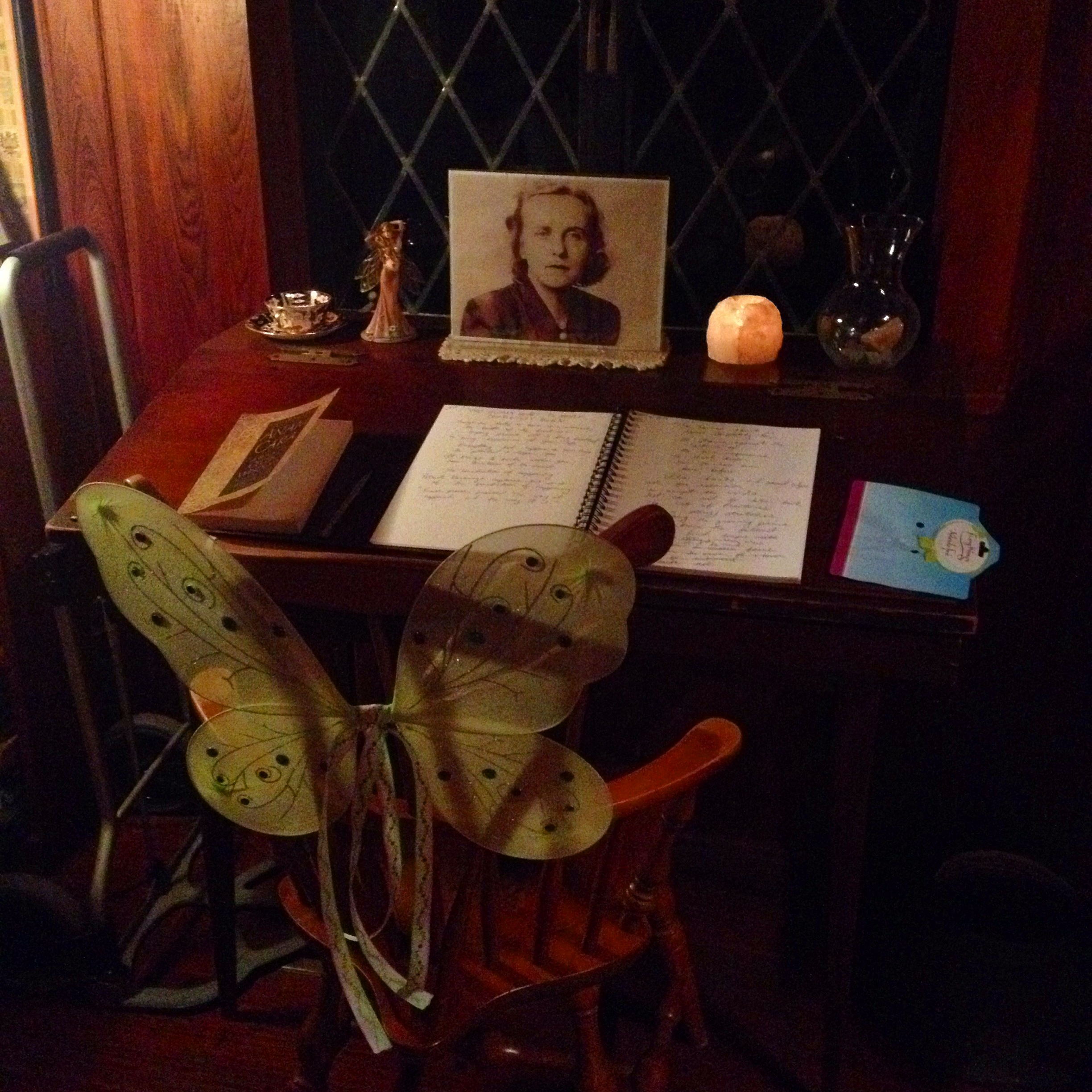 It was a treasure getting to write at Laura Jepsen's writing desk. She was quite the scholar and writer, and her work as an English Professor at Florida State University had a profound effect on her students who banded together to save the Lichgate from development after her passing.