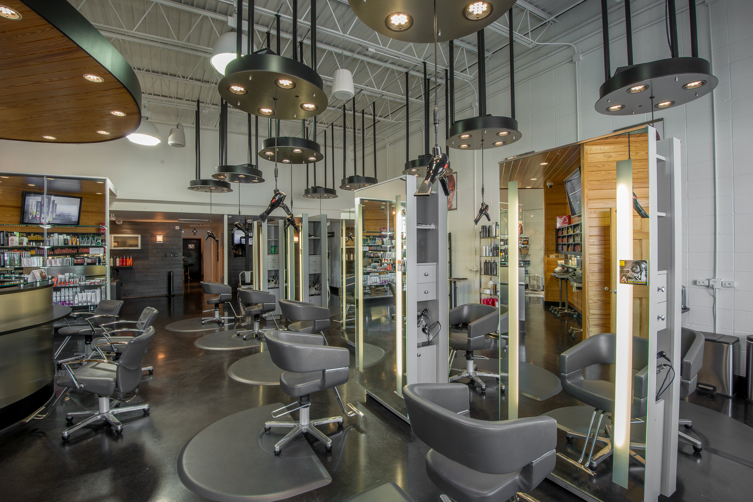 The Salon Rubicon  Houma, LA  - Stylists' Stations  JBL pendants provide the overhead sound.
