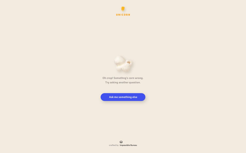 Error message / 404 screen