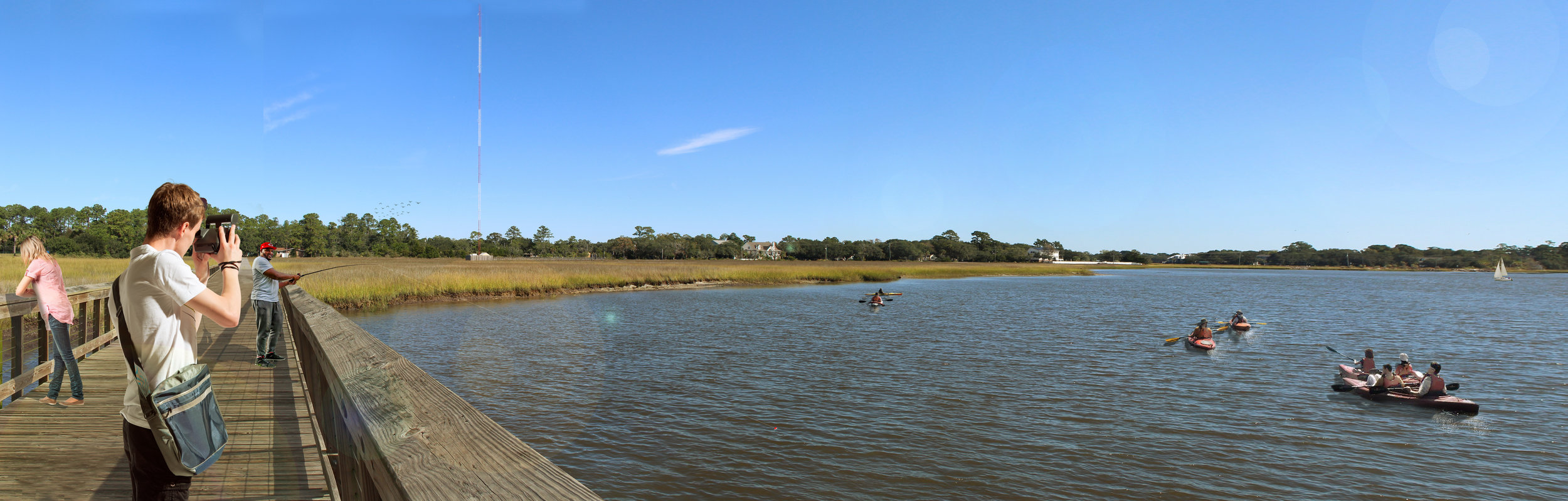 New boardwalk, kayak launch, and informational signage.