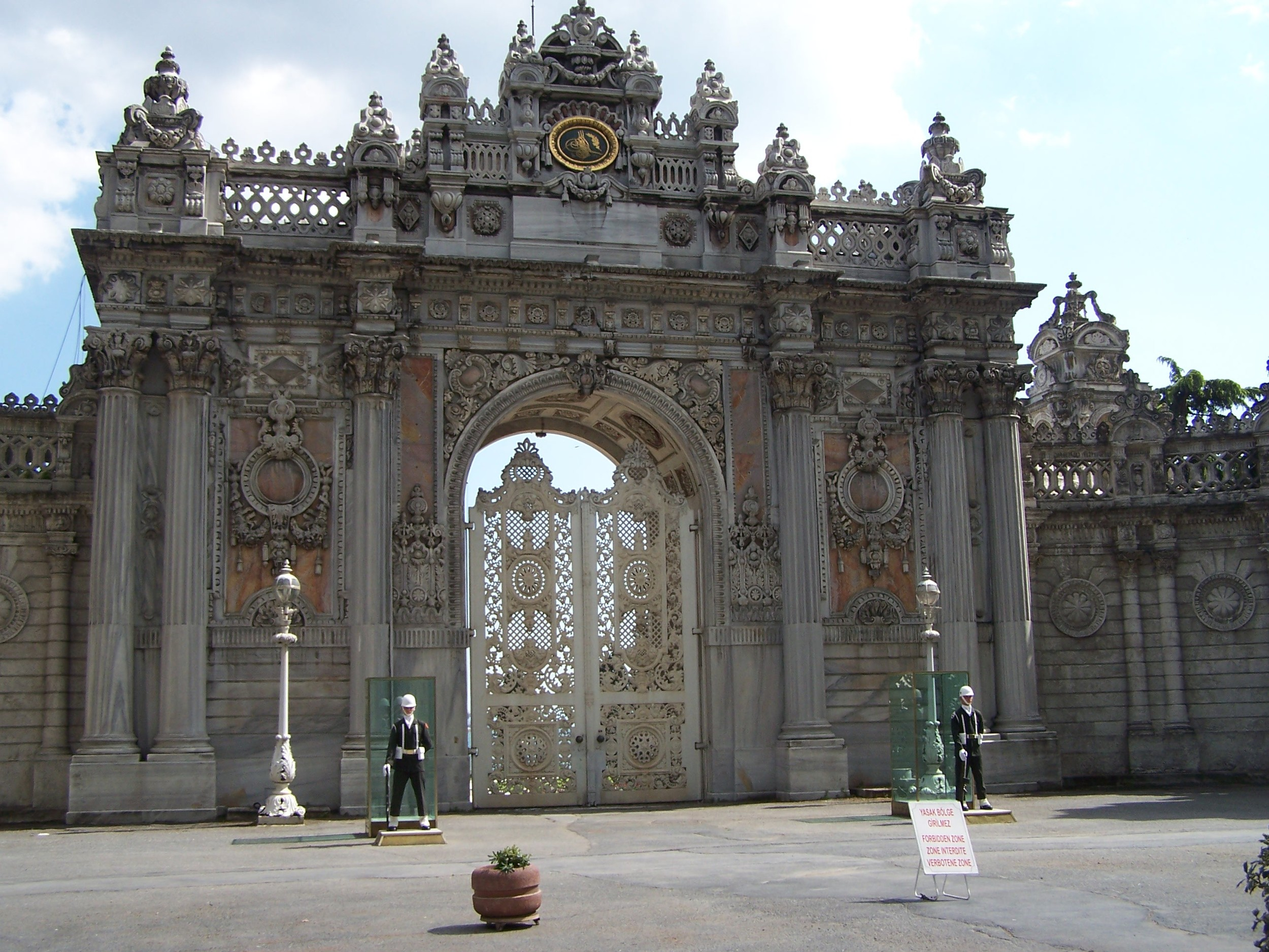 the gates of the Dolmabahçe Palace