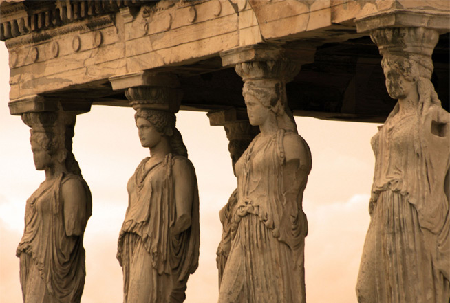 the caryatids of the acropolis in athens