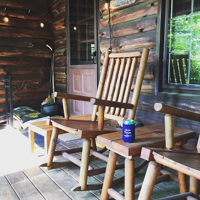 Coozie is chillin' on the porch near Shaftesbury, VT.  #1670tours #wheresmy1670coozie
