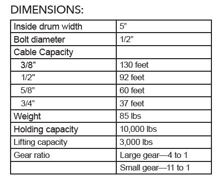 #10 Winch Dimensions