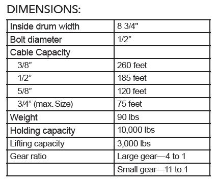 #11 Marine Winch Dimensions
