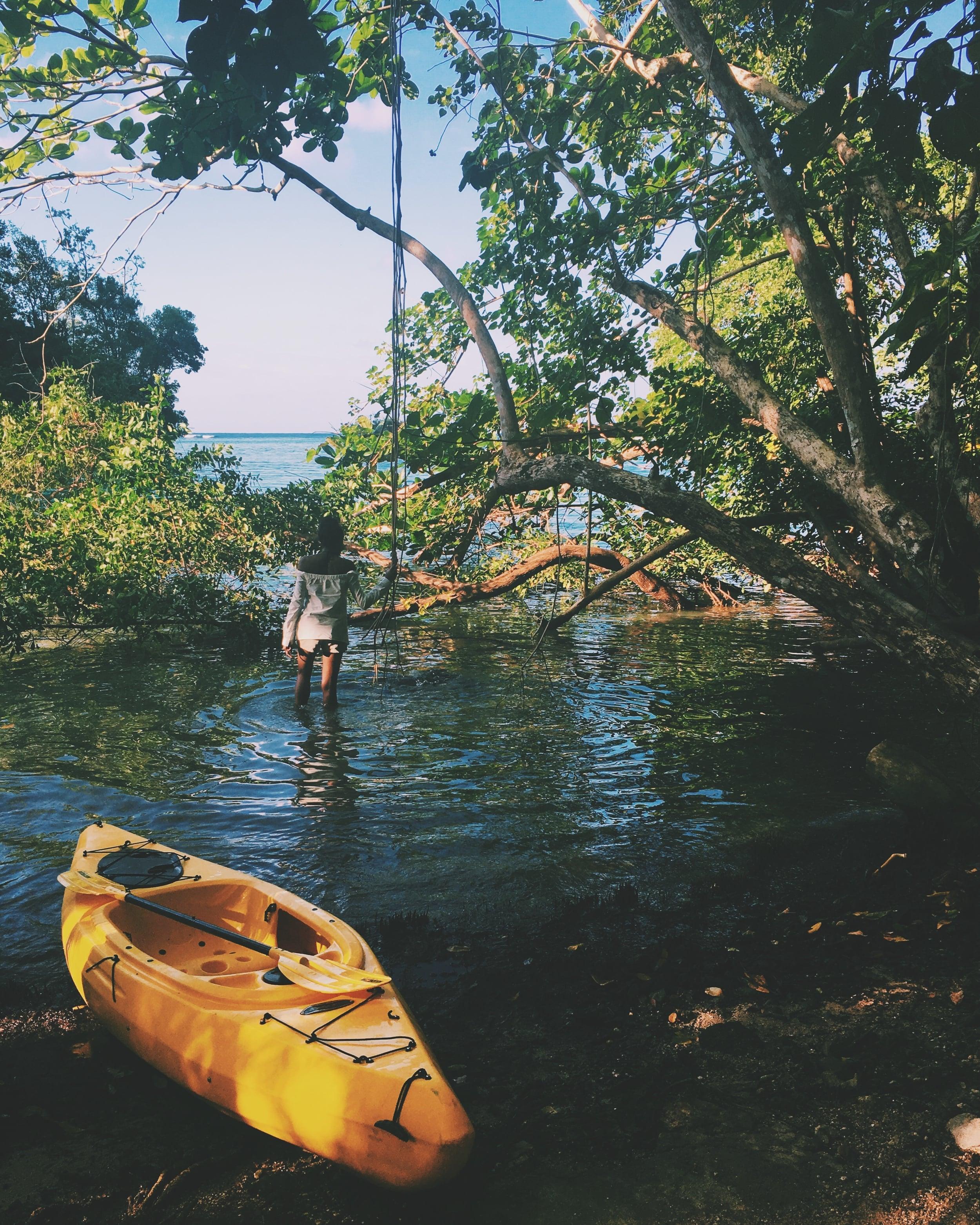 Canoeing near the Blue Lagoon, Portland parish, Jamaica