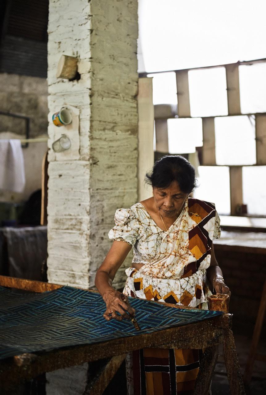 Kinsfolk batik scarves in production