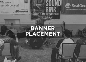 Whether (2), or (10) banners (you provide), see to it that your brand is highly visible in some or all of the highest traffic areas at LAUNCH 2018, in Conference areas, and Festival Performance areas alike. Options are 2'X4' banners up to 3' by 6' banners. There are volume discounts for 3 or more.   CONTACT US FOR MORE DETAILS AND PRICING